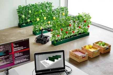 Dutch Design Week - Drivers of Change: Agrobot by Fruitpunch AI, a student team from TU Eindhoven: machine learning through virtual environments before letting the robot pluck fruits in the real environment.